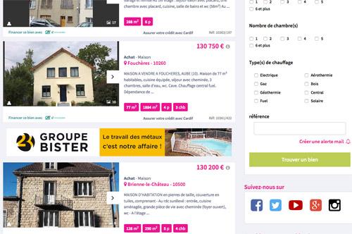 publicité Bister sur Immonot.fr